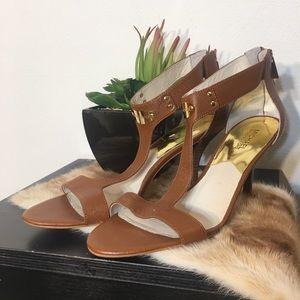 Michael Kors tan open toed heel w/back gold zipper